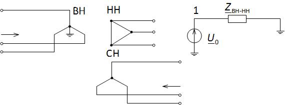 Схема замещения трёхобмоточного трансформатора по нулевой последовательности