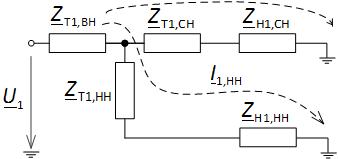 Схема замещения трехобмоточного трансформатора по прямой последовательности