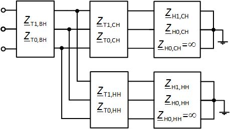 Схема в виде многополюсников для прямой последовательности