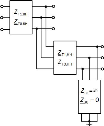 Схема в виде многополюсников для нулевой последовательности