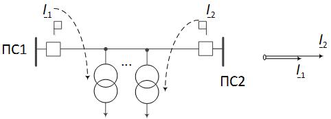 Стекание токов в ответвительные подстанции