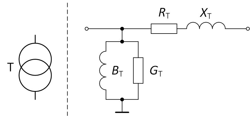 Условное обозначение и схема замещения двухобмоточного трансформатора