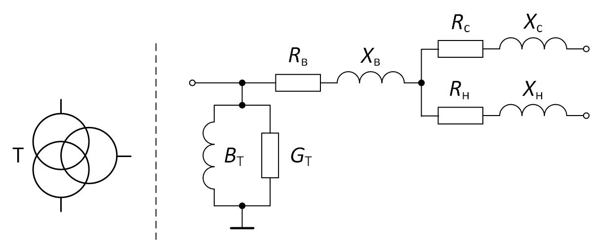 Условное обозначение и схема замещения трёхобмоточного трансформатора