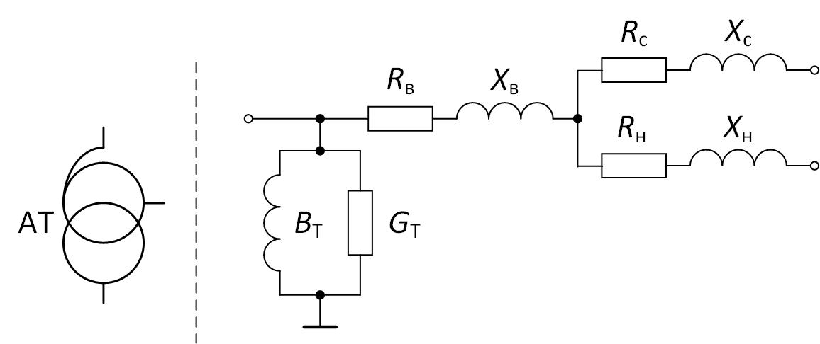 Условное обозначение и схема замещения автотрансформатора