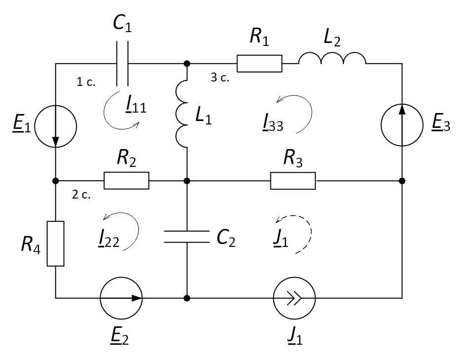 Circuit diagram method of loop currents for calculating the electrical circuit direction of loop currents