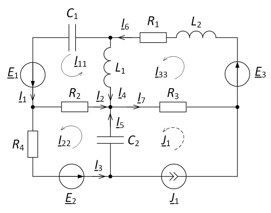 Электрическая схема метод контурных токов для расчёта электрической цепи определение токов в ветвях