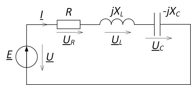 Последовательное соединение элементов электрической цепи для построения векторной диаграммы напряжений