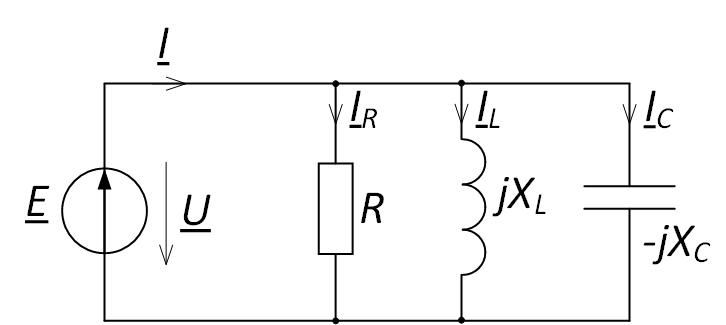 Параллельное соединение элементов электрической цепи для построения векторной диаграммы напряжений