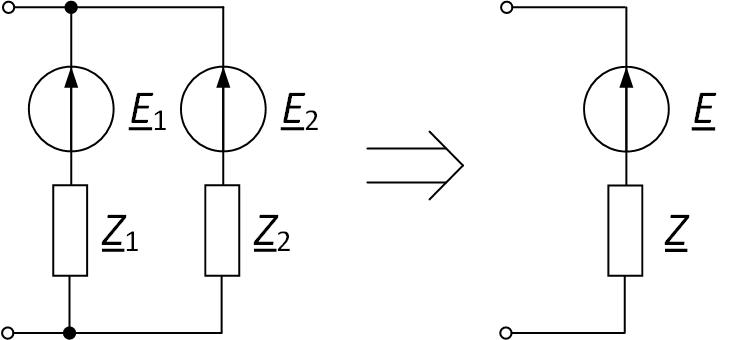 Параллельное соединение ветвей с источниками ЭДС