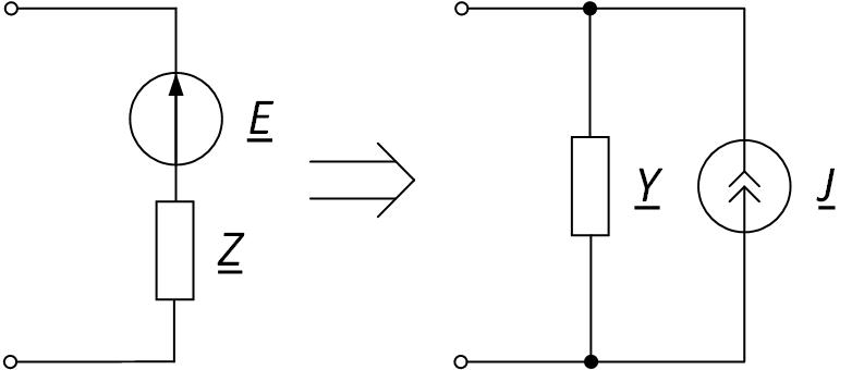 Преобразование источника ЭДС в источник тока