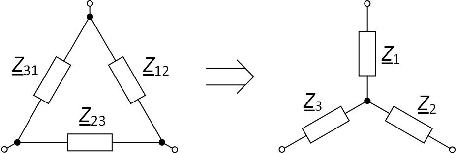 Преобразование треугольника сопротивлений в звезду